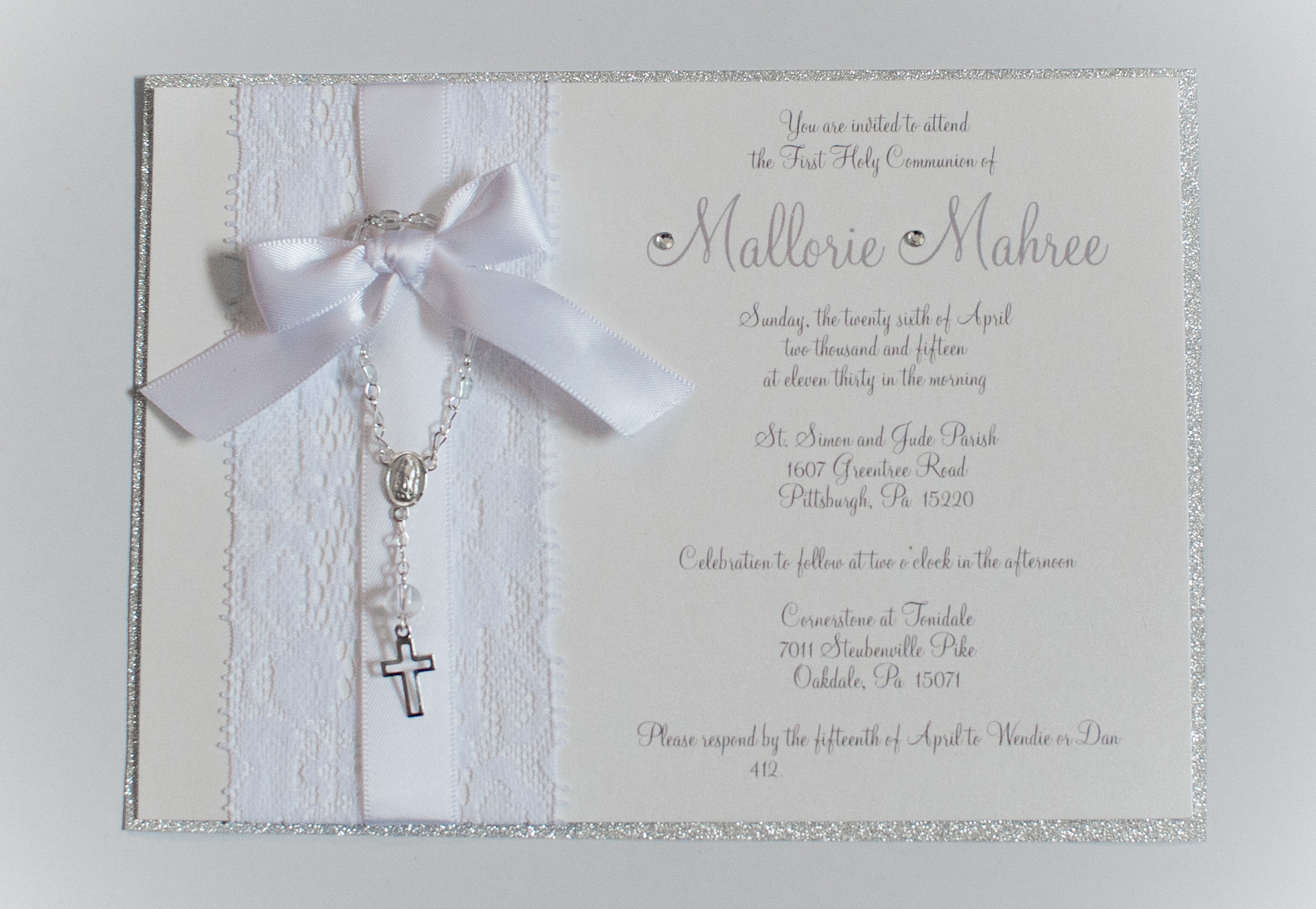 diy communion or baptism invitations 365ofpinterest